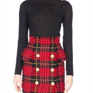 Balmain tartan tweed wool skirt